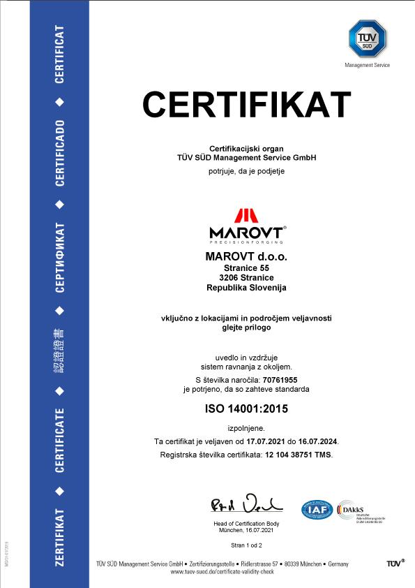 Certifikat za okolje